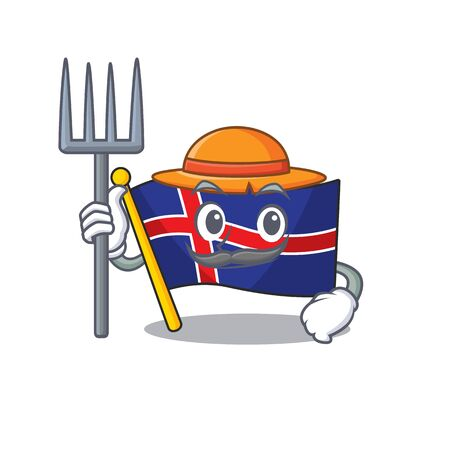Flag iceland farmer with cute in the character. Vector illustration
