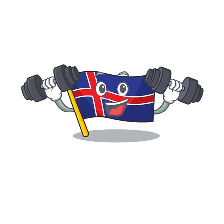 Happy flag iceland cartoon with bring barbell. Vector illustration