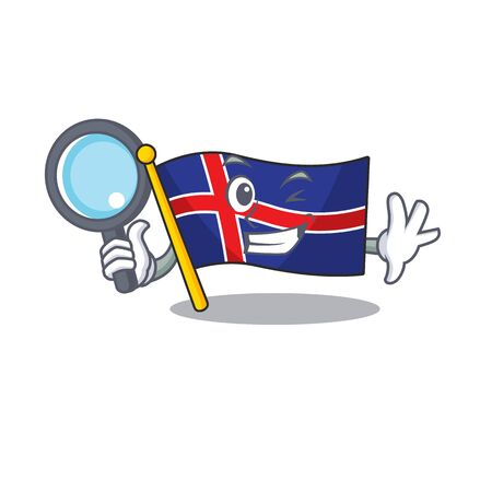 Isolated flag iceland with in character detective. Vector illustration