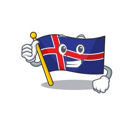 Mascot flag iceland thumbs up character shape. Vector illustration Vektorové ilustrace