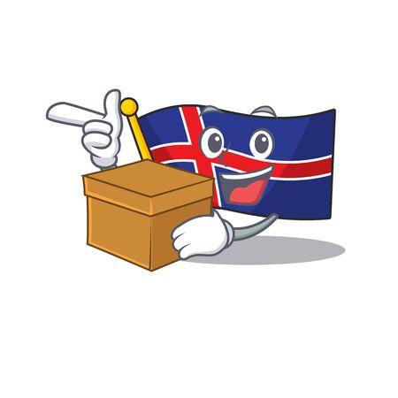 Character flag iceland shape with bring box. Vector illustration Vektorové ilustrace