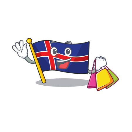 Flag iceland with the bring character shopping. Vector illustration Ilustracja