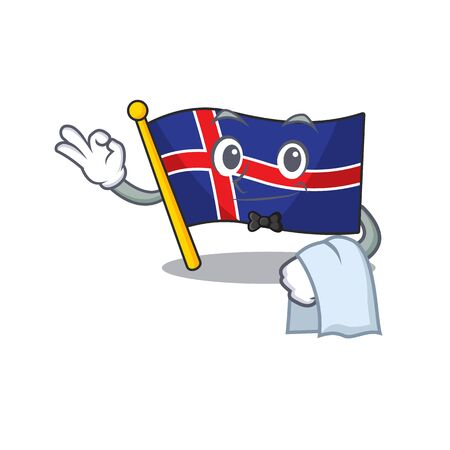 Isolated flag iceland cartoon in with waiter. Vector illustration