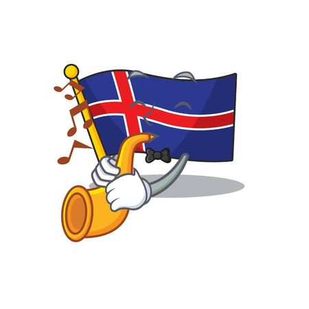 Cartoon flag iceland isolated with the trumpet. Vector illustration