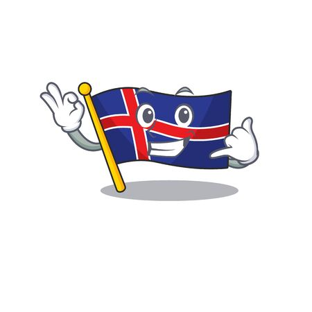 Character flag iceland isolated with call me. Vector illustration