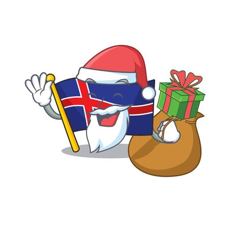 Cartoon flag iceland with character santa bring gift. Vector illustration Иллюстрация