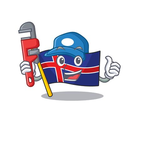 Cartoon fleg iceland character the plumber shape . Vector illustration