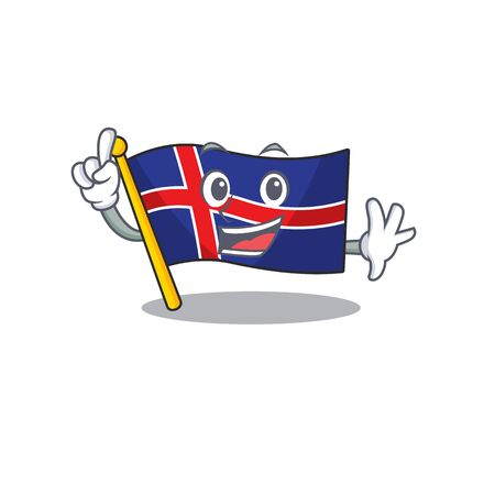 Cartoon flag iceland with in the finger. Vector illustration Иллюстрация