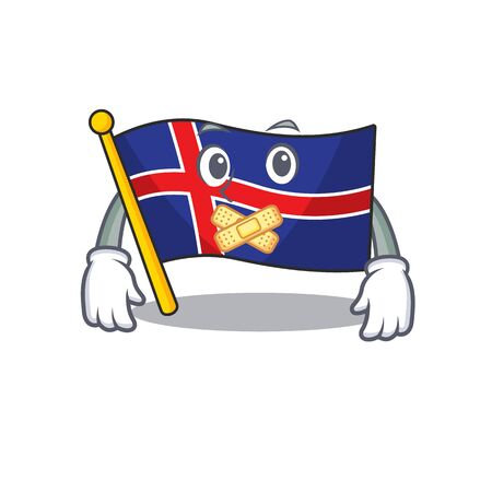 Character flag iceland with a cartoon silent. Vector illustration