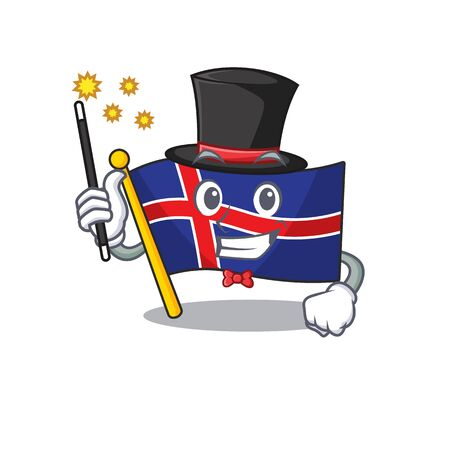 Cartoon flag iceland with the magician shape. Vector illustration