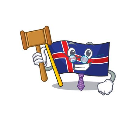 Mascot flag iceland in with judge shape. Vector illustration