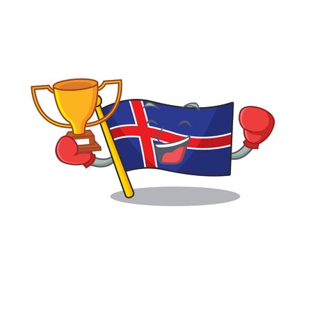 Character flag iceland on boxing winner happy.Vector illustration
