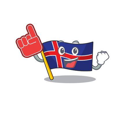 Cartoon flag iceland with character foam finger. Vector illustration