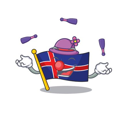 Mascot flag iceland with the isolated juggling. Vector illustration