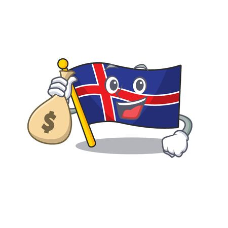 Flag iceland holding money bag with happy