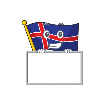 Cartoon flag iceland isolated on grinning with board