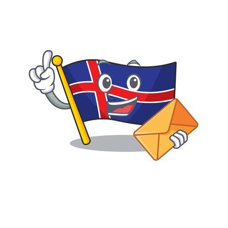 Character flag iceland shape cartoon bring envelope Ilustracja