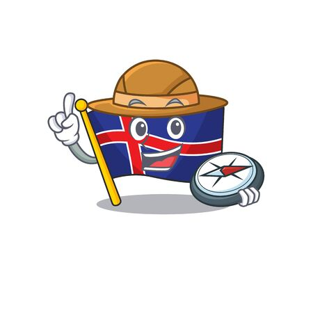 Character flag iceland cartoon on holding compass