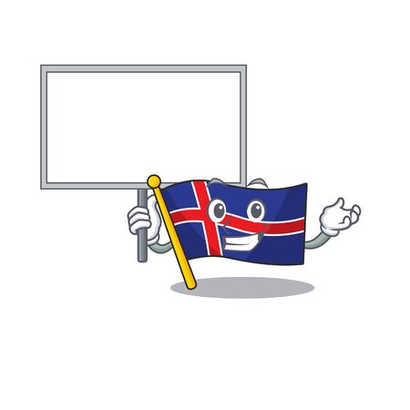 Isolated flag iceland on with character bring board