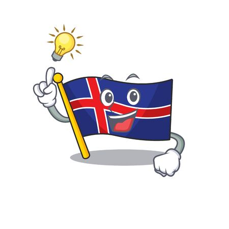 Mascot flag iceland cartoon have an idea happy