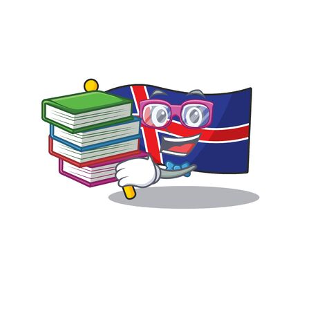 Isolated flag iceland in with student bring book Иллюстрация