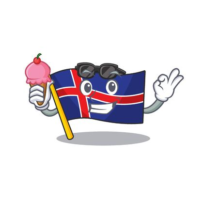 Cartoon flag iceland the mascot with ice cream