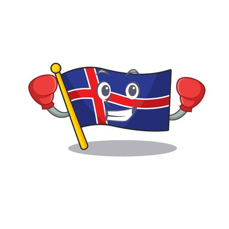 Mascot flag iceland with in character boxing happy