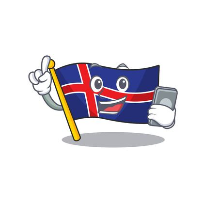 Isolated flag iceland with holding phone happy