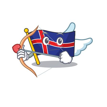 Cartoon flag iceland cupid on mascot shape