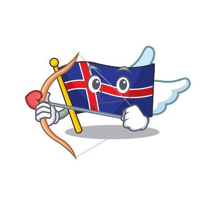 Cartoon flag iceland cupid on mascot shape Vektorové ilustrace