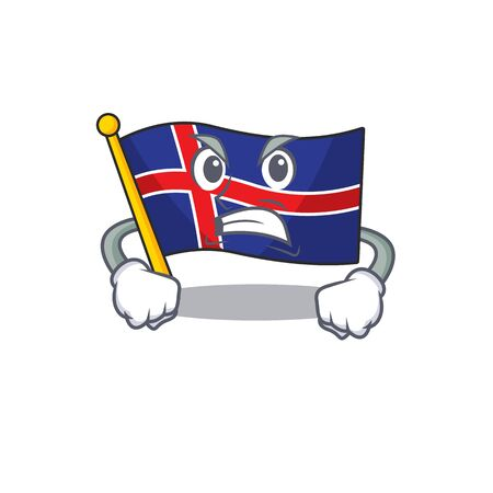 Mascot flag iceland with cartoon shape angry