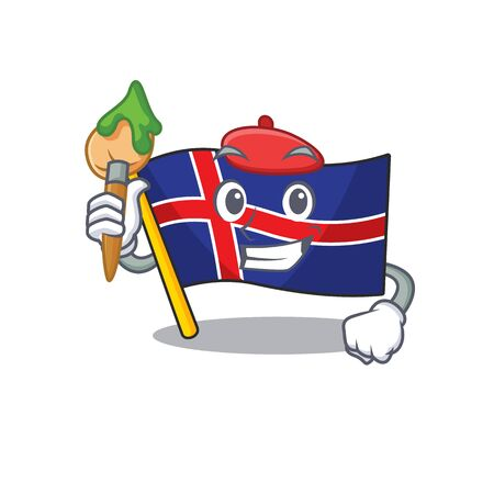 Flag iceland isolated in cartoon mascot painter