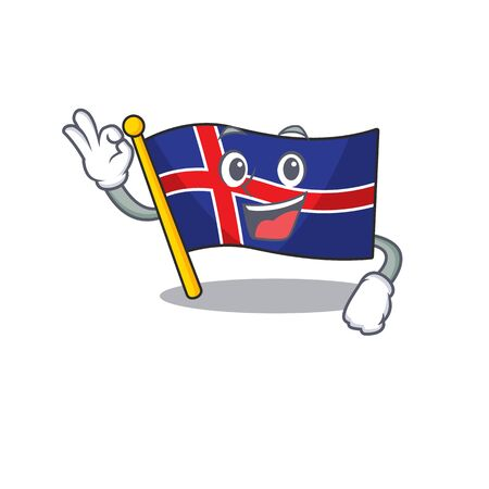 Cartoon flag iceland mascot with the okay