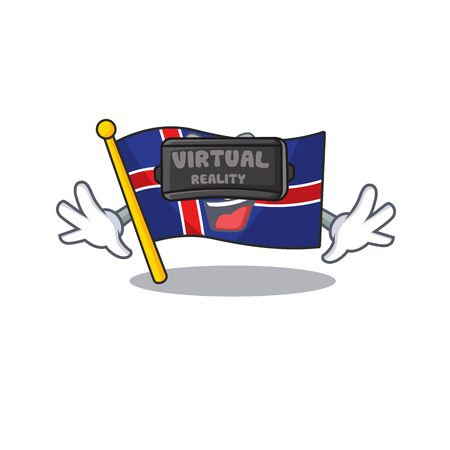 Mascot flag iceland the virtual reality cartoon Иллюстрация