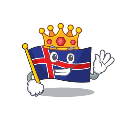 Mascot flag iceland in cartoon king shape