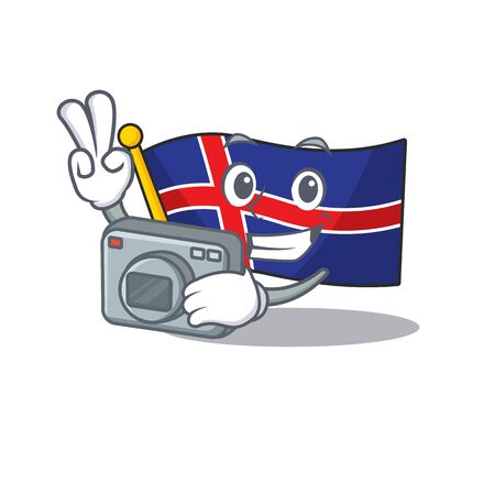 Mascot flag iceland cartoon on the photographer