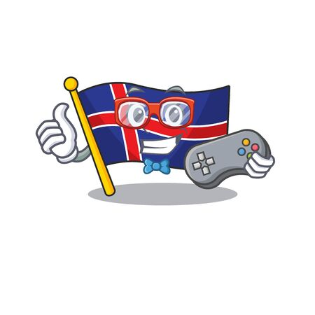 Cartoon flag iceland isolated holding gamer mascot