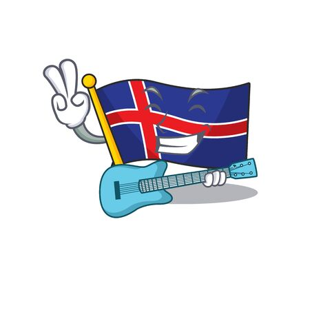 Character flag iceland mascot in with guitar