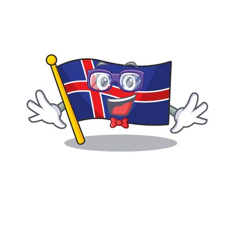 Flag iceland geek cartoon with character happy Иллюстрация