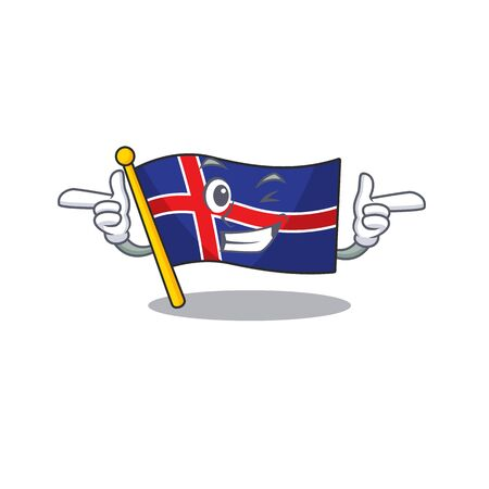 Cartoon flag iceland with the mascot wink