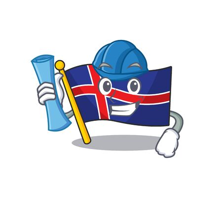 Character flag iceland with in mascot architect Иллюстрация