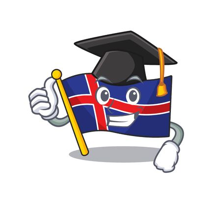 Flag iceland graduation hat in with shape character Иллюстрация
