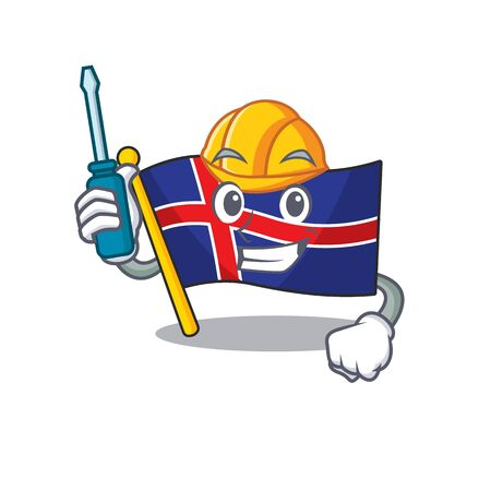 Isolated flag iceland in the cartoon automotive Иллюстрация