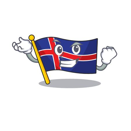 Character flag iceland in the successful mascot Иллюстрация