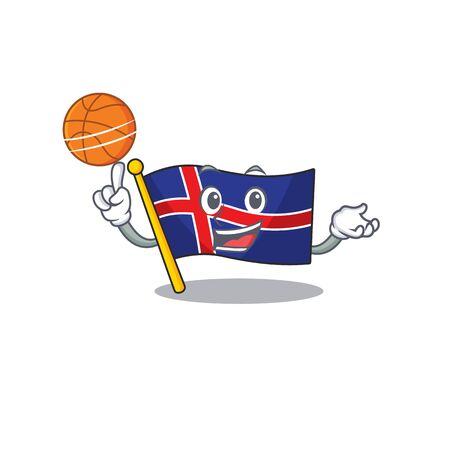 Cartoon flag iceland with character holding basketball