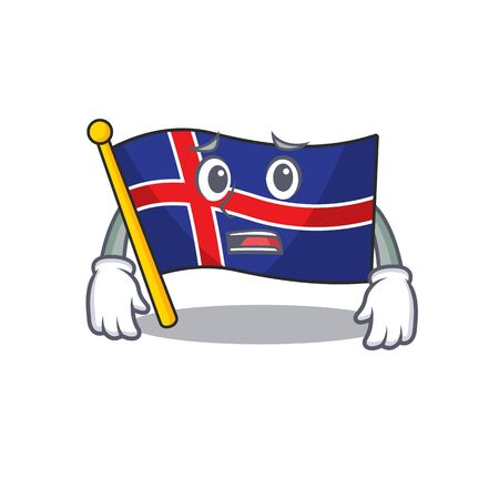 Character flag iceland with the mascot afraid