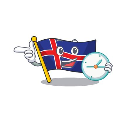 Flag iceland cartoon with the bring clock