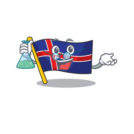 Cartoon flag iceland with in isolated professor