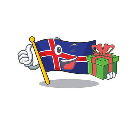 cartoon flag iceland character in holding gift Vektorové ilustrace