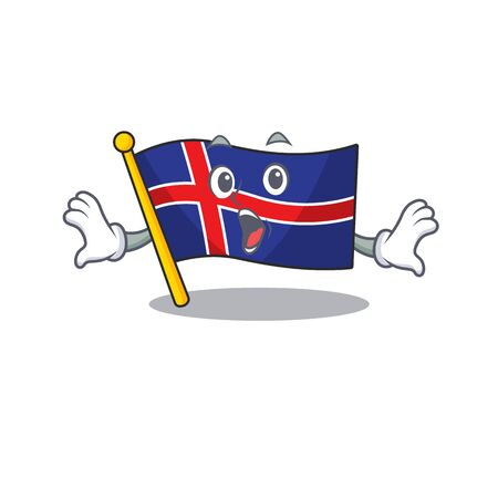 Character flag iceland with the surprised shape Иллюстрация